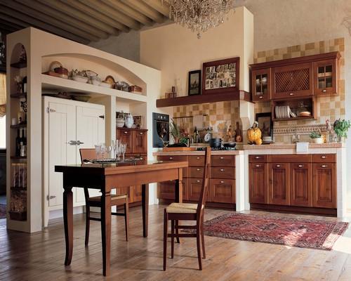 Cucine classiche anta in legno noce rovere frassinato bianco tranch ciliegio - Piastrelle taverna ...
