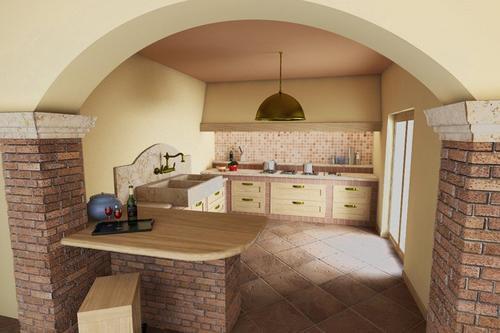 Cucine rustiche in yellow pine pino abete finta for Piani a due piani in mattoni a vista