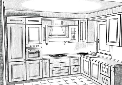 Disegno esclusivo progettazione di interni arredamenti a misura sviluppo in pianta - Disegnare cucine gratis ...