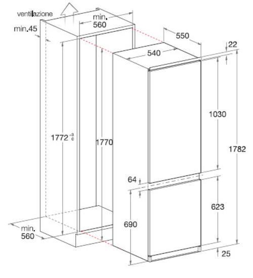Eletrodomestici ariston frigorifero combinato forno for Dimensioni frigorifero